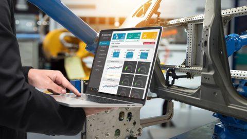 laptop being used on factory floor